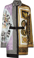 Versace Belted Printed Silk Satin-twill Mini Dress - Lilac