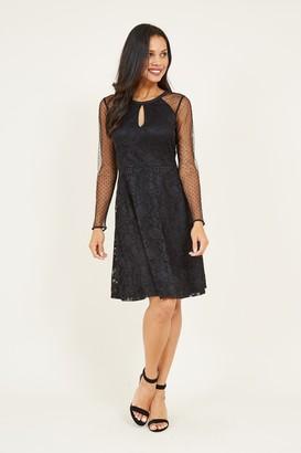 Yumi Black Lace Mesh Skater Dress