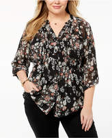 Style&Co. Style & Co Plus Size Floral-Print Pintuck Top, Created for Macy's