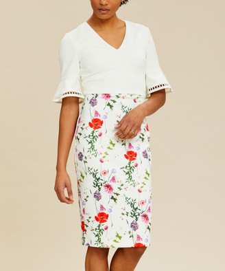 Ted Baker Women's Casual Dresses WHITE - White Floral Bell-Sleeve Wesa Shift Dress - Women