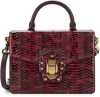 Dolce & Gabbana Lucia Snakeskin Leather Box Top Handle Bag