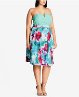 City Chic Trendy Plus Size Printed Fit & Flare Skirt
