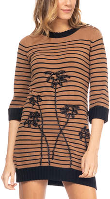 Tantra Women's Casual Dresses Camel - Camel Stripe Embroidered Palm Tree Sweater Dress - Women
