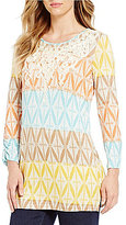 Multiples Soutache Accents Scoop Neck Tie-Dye Print Knit Top