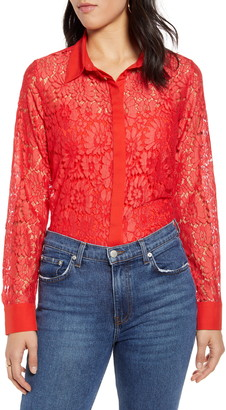 Halogen Lace Button Front Long Sleeve Top