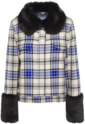 Shrimps Faux Fur-trimmed Checked Wool-twill Jacket