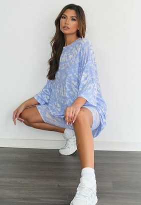 Missguided Blue Tie Dye T Shirt And Cycling Shorts Co Ord Set