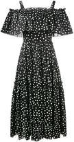 Dolce & Gabbana off-shoulder polka-dot dress - women - Cotton/Spandex/Elastane - 38