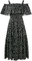 Dolce & Gabbana off-shoulder polka-dot dress - women - Cotton/Spandex/Elastane - 40