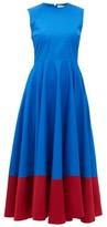 Roksanda Athena Contrast-hem Cotton-poplin Midi Dress - Womens - Blue Multi