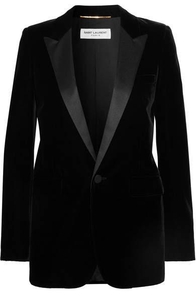 Saint Laurent Satin-trimmed Velvet Tuxedo Blazer - Black