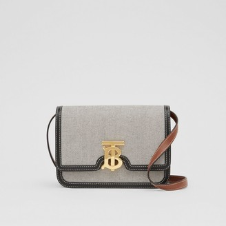 Burberry Small Tri-tone Canvas and Leather TB Bag