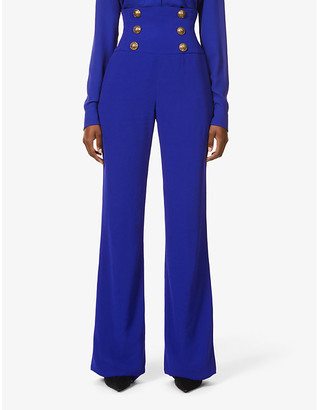 Balmain Button-embellished wide-leg high-rise woven trousers