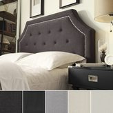 Inspire Q Grace Button Tufted Full Size Fabric Headboard with Nailhead Trim by