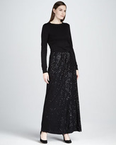 Neiman Marcus Sequin Ruched Maxi Skirt