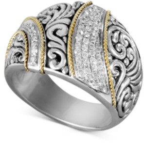 Effy Balissima by Diamond Ribbon Statement Ring (1/4 ct. t.w.) in 18k Gold and Sterling Silver