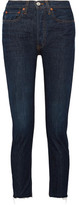 RE/DONE High-Rise Cropped Frayed Straight-Leg Jeans