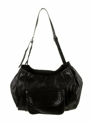 Bottega Veneta Intrecciato-Trimmed Tote Bag Black