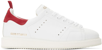 Golden Goose White and Red Starter Sneakers