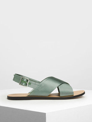 Charles & Keith Satin Criss Cross Sandals