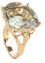 NEW RARITIES Green Prasiolite Cushion Diamond Yellow Gold Ring Sz 7 $1400