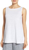 Eileen Fisher Organic Linen Long Bateau Neck Shell (Regular & Petite)