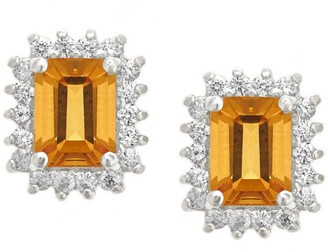 Premier Emerald Cut 1.60cttw Citrine Earrings,14K