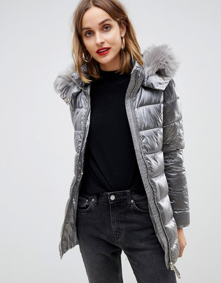 Gianni Feraud quilted jacket with faux fur hood