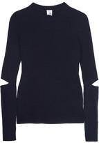 Iris and Ink Cutout Ribbed Merino Wool Sweater