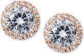 Lauren Ralph Lauren Rose Gold-Tone Crystal Halo Stud Earrings