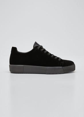 Giorgio Armani Men's Tonal Velvet Platform Sneakers