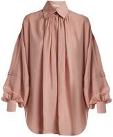 Etro Versaille oversized silk-voile blouse