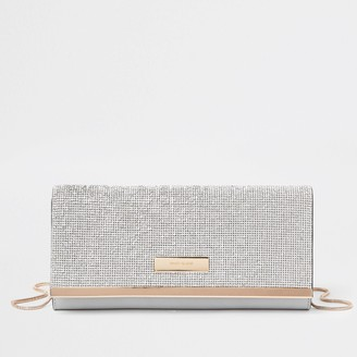 River Island Womens Silver diamante clutch Handbag