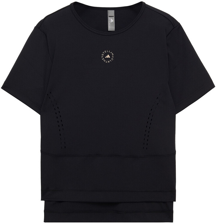 Thumbnail for your product : adidas by Stella McCartney Perforated Printed Stretch T-shirt