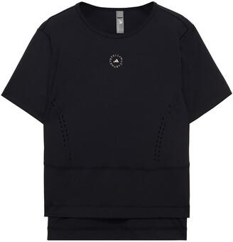 adidas by Stella McCartney Perforated Printed Stretch T-shirt
