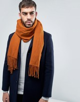 Asos Woven Blanket Scarf In Orange