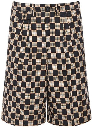 Burberry Pleated Check Grid Cotton Shorts