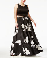Sequin Hearts Plus Size 2-Pc. Open-Back Top and Floral-Print Skirt, a Macy's Exclusive Style