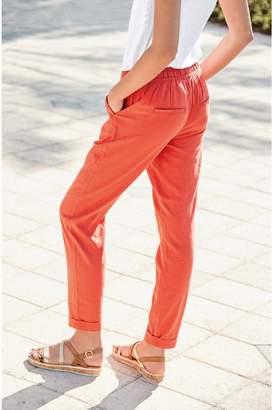 Next Womens Orange Linen Blend Tapered Trousers - Orange