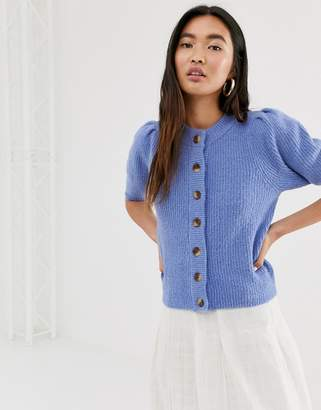 Monki puffy short sleeve cropped cardigan in blue