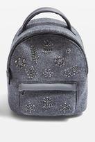 Topshop BLING Mini Velvet Backpack