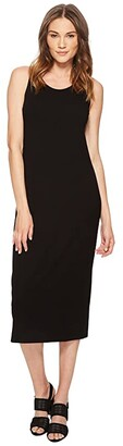 Eileen Fisher Scoop Neck F/L Dress (Black Viscose Jersey) Women's Dress