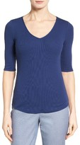 Nordstrom Women's Rib Knit Cotton Blend Top