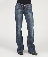 Stetson Blue Contrast Thick Yarn Back Pocket Straight-Leg Jeans - Women