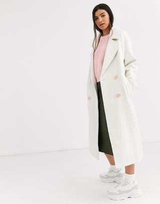 Asos Design DESIGN brushed statement button coat with hero buttons in cream