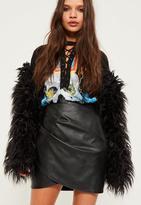 Missguided Black Wrap Front Faux Leather Mini Skirt, Black