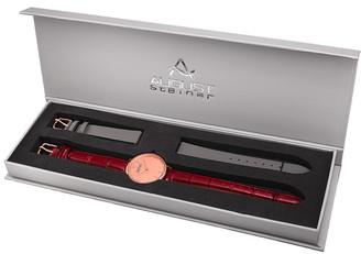 August Steiner Women's Genuine Leather Watch With Interchangeable Straps