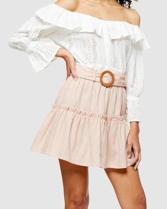 Topshop Linen Blend Tiered Mini Skirt