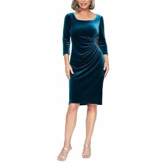 Alex Evenings Women's Plus Size Short 3/4 Sleeve Velvet Dress