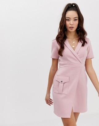 Asos Design DESIGN safari dress with pocket-Pink